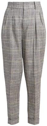 Isabel Marant Ceyo Linen & Silk Check Pants