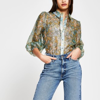 River Island Womens Green long sleeve floral sheer shirt