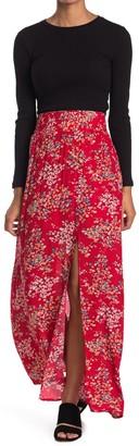 Socialite Smocked High Waisted Side Slit Skirt