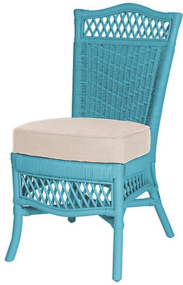 One Kings Lane Plantation Side Chair - Blue/Beige