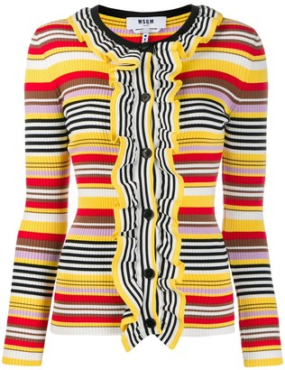 MSGM Striped Ruffled Cardigan