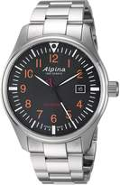 Alpina Men's 'Startimer' Swiss Quartz Stainless Steel Casual Watch, Color:Silver-Toned (Model: AL-240N4S6B)