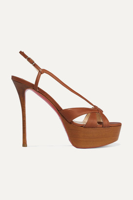 Christian Louboutin Veracite 130 Leather Platform Sandals - Tan