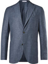 Boglioli - Light-blue And Grey Mélange Silk And Linen-blend Blazer