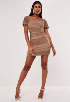 Missguided Taupe Mesh Puff Sleeve Milkmaid Mini Dress