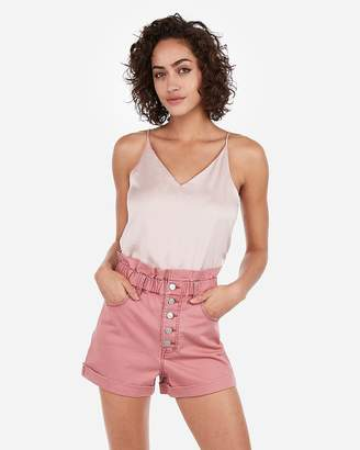 Express Super High Waisted Exposed Fly Cinched Waist Twill Shorts
