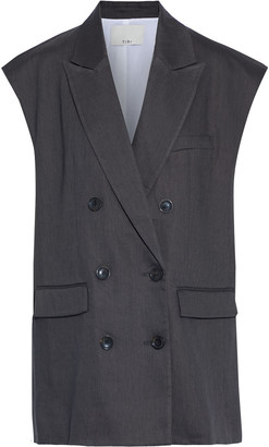 Tibi Wesson Oversized Double-breasted Twill Vest