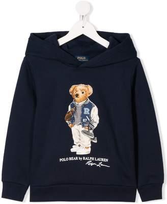 Ralph Lauren Kids Football Bear print hoodie