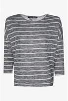 Select Fashion Fashion Womens Grey Stripe Cut And Sew Wrap Back - size 10