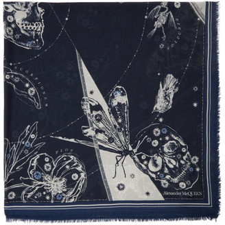 Alexander McQueen Off-White and Navy Cosmos Shawl