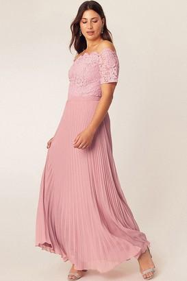 Oasis Pale Pink Lace Bardot Maxi Dress