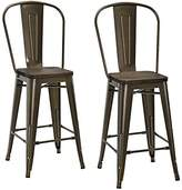 "DHP Luxor Metal Counter Stool with Wood Seat (Set of 2), 24"", Antique Bronze"