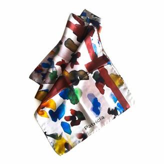 Abstudio Abramovich Patricia Flowers & Stripes Long Silk Scarf