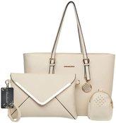 Donaword Women 3 Pcs Satche Hobo PUeather Tote Shouder Bag Handbag Purse Set Bue