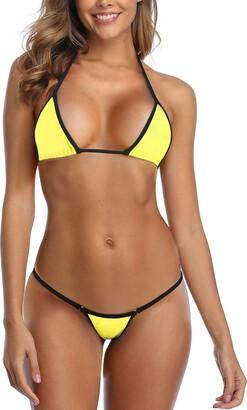 SHERRYLO Micro Bikini Mini Triangle Trop G String Thong Bottom - Black - Large