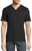 John Varvatos Short-Sleeve Snap-Front Henley T-Shirt, Black