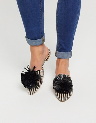 Truffle Collection pom flat mules in black