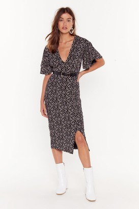 Nasty Gal Womens It Grows Without Saying Floral Midi Dress - Black - 4