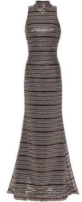 Badgley Mischka Tie-neck Sequined Tulle Gown