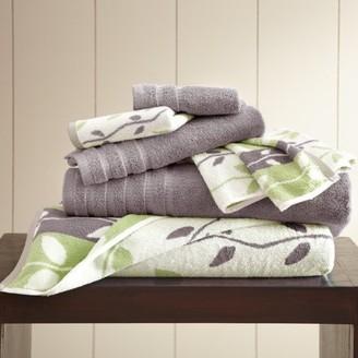 Ash Allure 6 Piece Yarn Dyed Towel Set, Organic Vines, Grey
