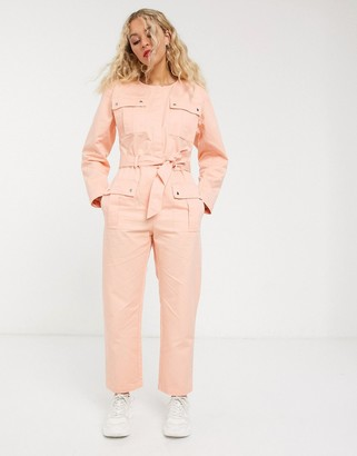 And other stories & pocket detail utility jumpsuit in bleached peach