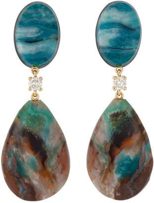 Jan Leslie 18K Bespoke 2-Tier Tribal Luxury Earrings w/ Chrysocolla Malachite, Blue Opal Petrified Wood & Diamonds