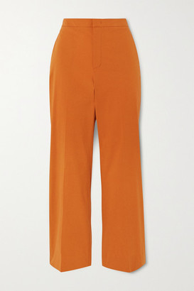Loro Piana Cotton-blend Twill Straight Leg Pants - Coral