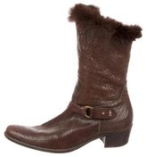 Henry Beguelin Fur-Trimmed Embossed Boots