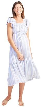 Ingrid & Isabel Maternity Flutter Sleeve Tiered Dress (Blue Multi Stripe) Women's Dress