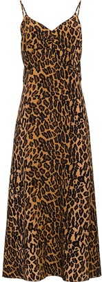 Miu Miu Leopard Print Plunge Back Dress