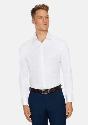 TAROCASH White Toby Slim Stretch Dress Shirt