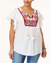 Style and Co Plus Size Cotton Embroidered Peasant Top, Created for Macy's