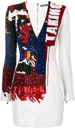 Balmain sequin embroidered bodycon dress
