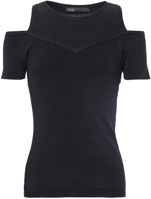 Maje Cold-shoulder Ribbed And Stretch-knit Top