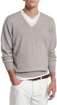 Brunello Cucinelli Contrast-Collar Cashmere Sweater, Dove