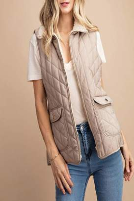 Quilted/fur Reversible Vest