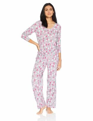 Hue Women's Plus Size Printed Knit Long Sleeve Tee and Pant 2 Piece Pajama Set