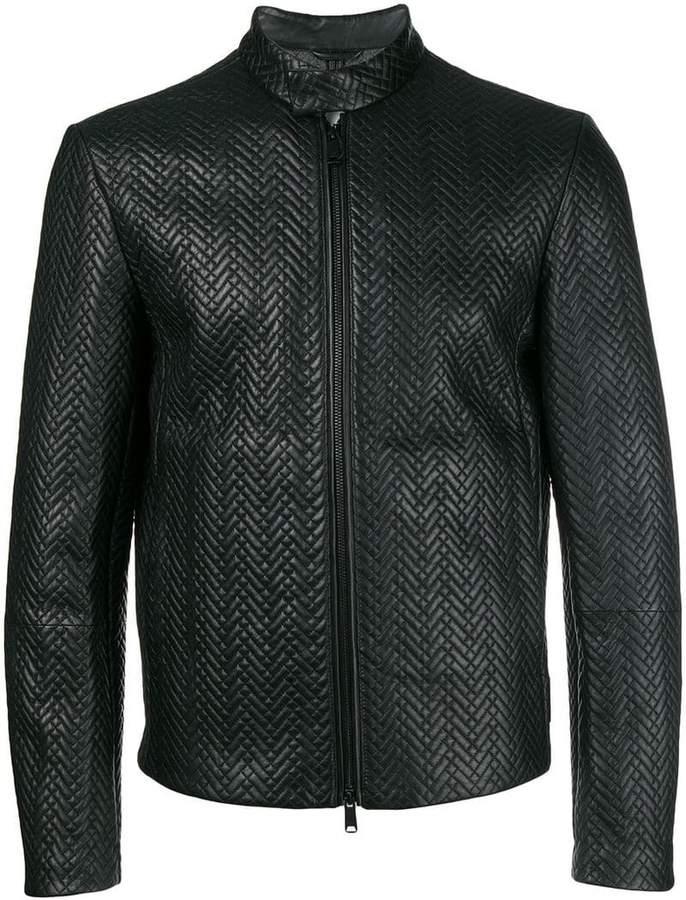 Emporio Armani textured zipped jacket