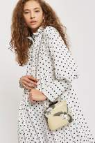 Leather bird embroidered boxy clutch