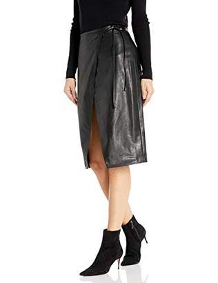 Armani Exchange A|X Women's Pleather High Slit Tie Wrap Skirt