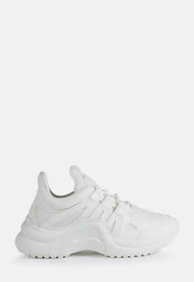 Missguided White Curved Sole Sneakers