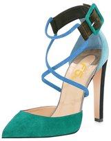 FSJ Women Straps Chunky Heels Pumps Pointed Toe Stilettos Ankle Buckle Shoes Size 11