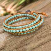Serpentine and Leather Wrap Bracelet from Thailand, 'Blue Caramel'
