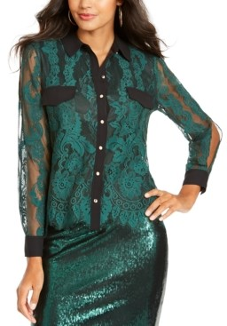 Thalia Sodi Mixed-Media Button-Up Shirt, Created for Macy's
