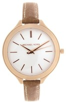Michael Kors MK2284 Light Champagne Dial Brown Leather Strap 41mm Mens Watch