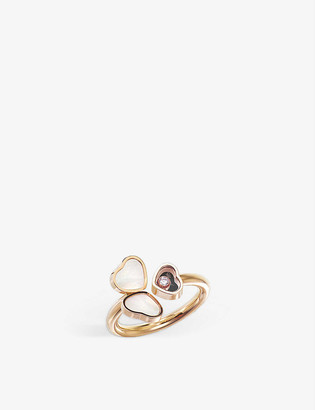 Chopard Happy Hearts Wings 18ct rose-gold, mother-of-pearl and diamond ring