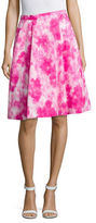 Ellen Tracy Petite Printed Pleat A-Line Skirt