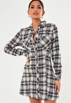 Missguided Stone Check Button Down Skater Dress