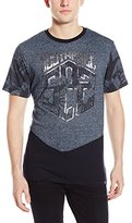 Southpole Men's Marled Cut and Sewn T-Shirt with Plantation Pattern and Solid Bottom