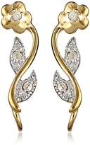The Ear Pin Diamond Accent Flower Motif Gold Over Sterling Silver Earrings